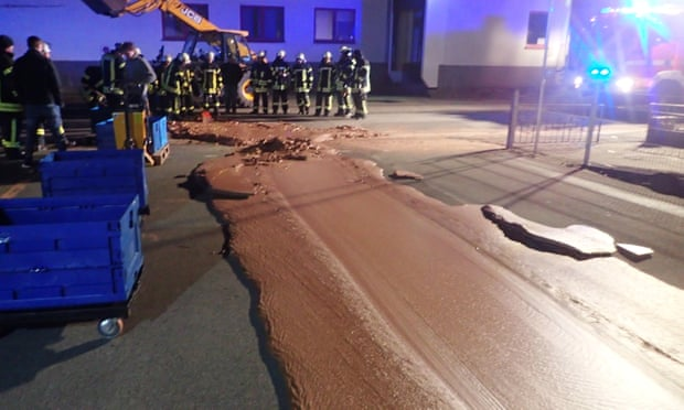 Chaos and the chocolate factory as leak smothers German street