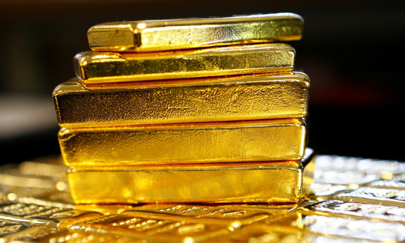 Gold rises, holds near 6-month highs on falling equities