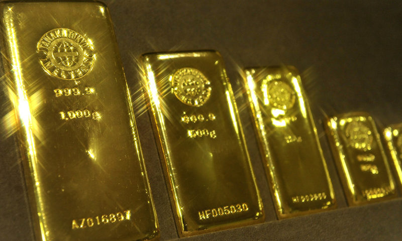 Gold ends slightly higher, buoyed by weakness in the dollar