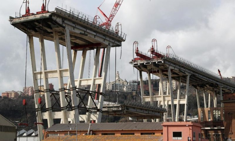 Workers Carefully Remove Remains of Collapsed Genoa Bridge