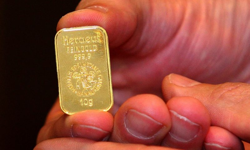 Gold ends lower, suffers a weekly loss as bond yields rise