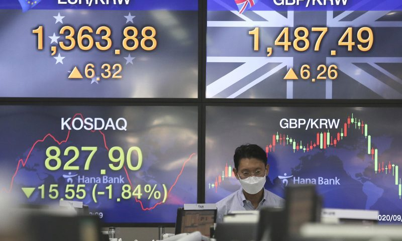 Asian stocks mostly lower early Thursday amid declining confidence in U.S. economy and escalating political turmoil