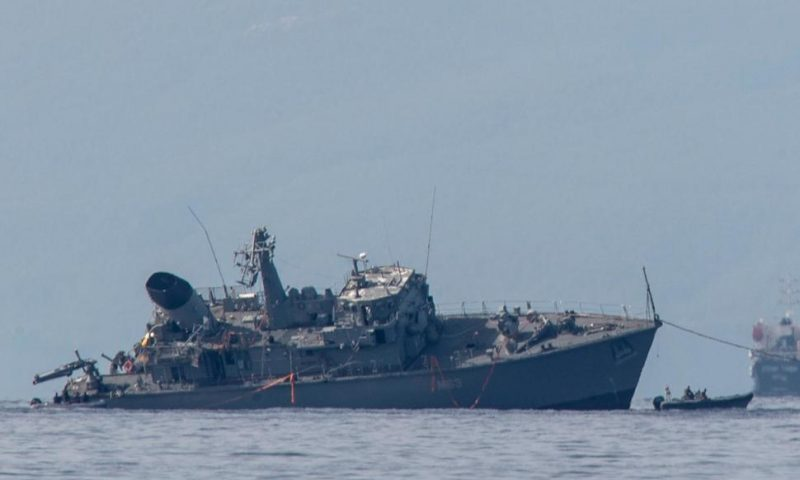 Greek Navy Minesweeper Damaged After Cargo Ship Collision