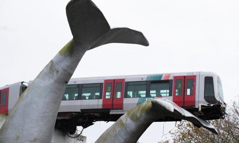 Whale sculpture stops Dutch train crashing into water