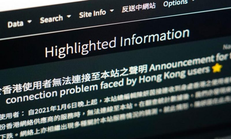 Hong Kong Internet Firm Blocked Website Over Security Law